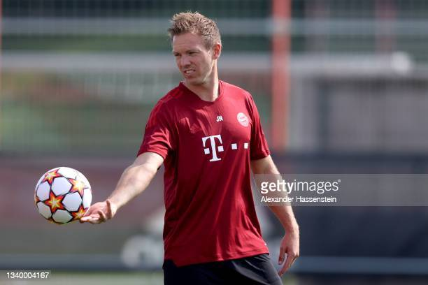 Julian Nagelsmann, head coach of FC Bayern München reacts during a FC Bayern training session at Saebener Strasse training ground on September 13,...