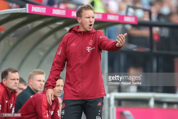 Julian Nagelsmann, Head coach of FC Bayern Muenchen reacts during pre-season friendly match between 1.FC Köln and FC Bayern München at MS...