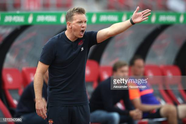 Julian Nagelsmann, head coach of Leipzig reacts during the DFB Cup first round match between 1. FC Nürnberg and RB Leipzig at Max-Morlock-Stadion on...