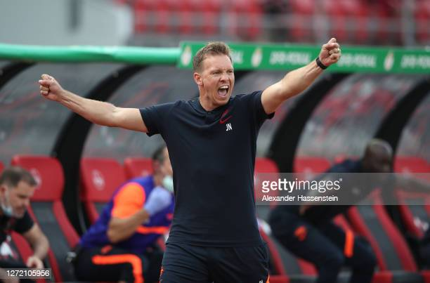 Julian Nagelsmann, Head Coach of RB Leipzig celebrates after his team's second goal during the DFB Cup first round match between 1. FC Nürnberg and...