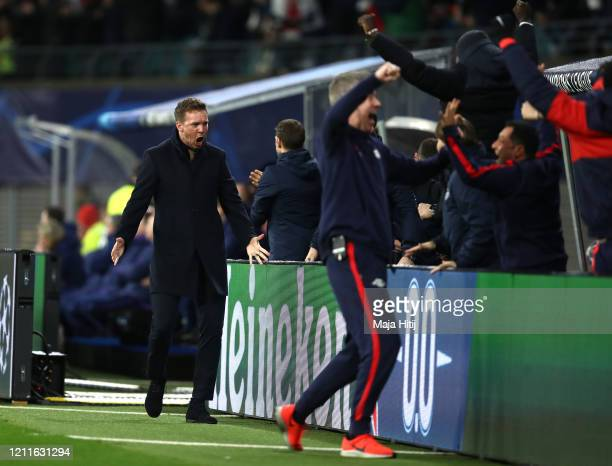 Julian Nagelsmann, Head Coach of RB Leipzig celebrates during the UEFA Champions League round of 16 second leg match between RB Leipzig and Tottenham...