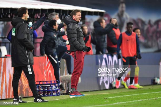 Julian Nagelsmann, Head Coach of RB Leipzig during the Bundesliga match between RB Leipzig and Borussia Moenchengladbach at Red Bull Arena on...