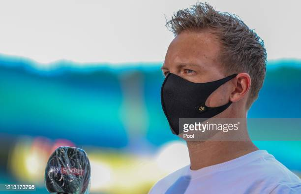 Julian Nagelsmann, Head Coach of RB Leipzig is interviewed prior to the Bundesliga match between RB Leipzig and Sport-Club Freiburg at Red Bull Arena...