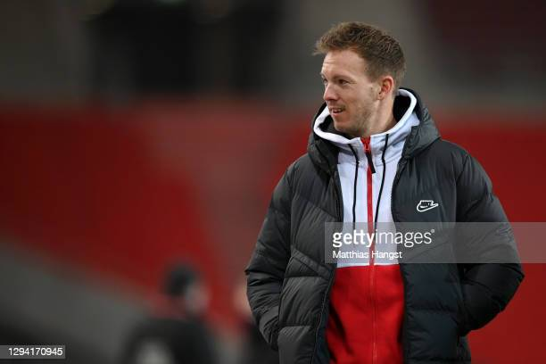 Julian Nagelsmann, Head Coach of RB Leipzig looks on prior to the Bundesliga match between VfB Stuttgart and RB Leipzig at Mercedes-Benz Arena on...