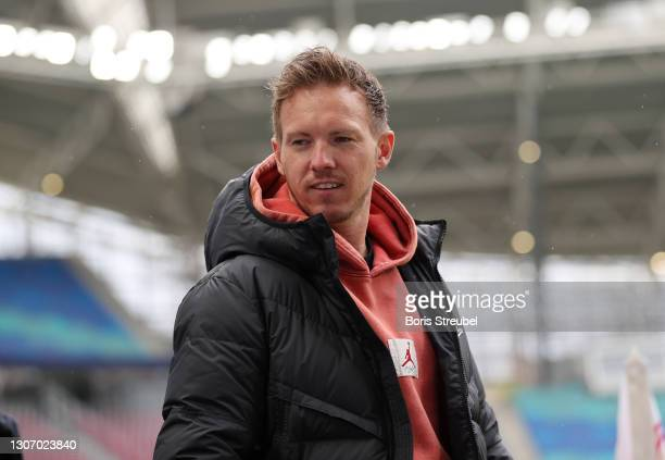 Julian Nagelsmann, Head Coach of RB Leipzig looks on prior to the Bundesliga match between RB Leipzig and Eintracht Frankfurt at Red Bull Arena on...
