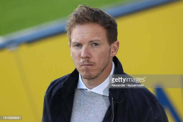 Julian Nagelsmann, head coach of RB Leipzig looks on prior to the Bundesliga match between RB Leipzig and FC Bayern Muenchen at Red Bull Arena on...