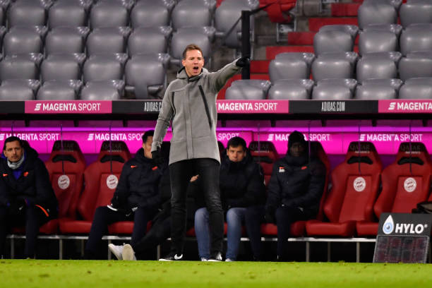 Julian Nagelsmann, Head Coach of RB Leipzig reacts during the Bundesliga match between FC Bayern Muenchen and RB Leipzig at Allianz Arena on December...