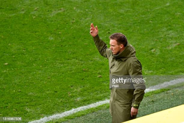 Julian Nagelsmann, Head Coach of RB Leipzig reacts during the Bundesliga match between Borussia Dortmund and RB Leipzig at Signal Iduna Park on May...