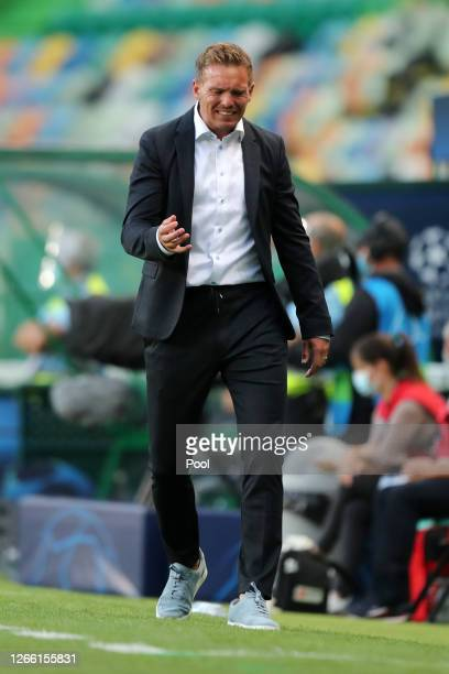 Julian Nagelsmann, Head Coach of RB Leipzig reacts during the UEFA Champions League Quarter Final match between RB Leipzig and Club Atletico de...