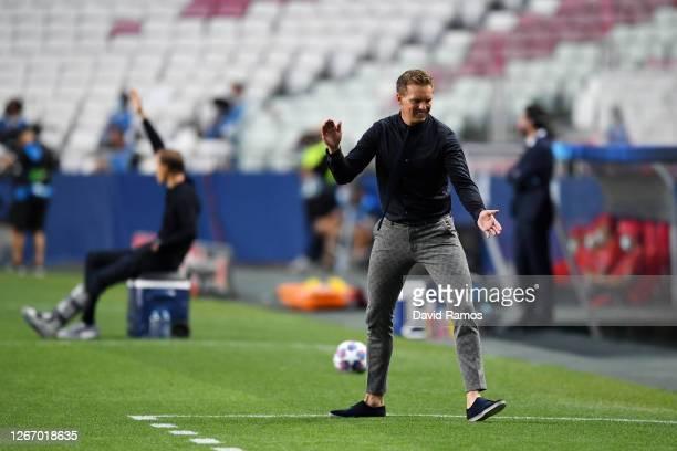 Julian Nagelsmann, Head Coach of RB Leipzig reacts during the UEFA Champions League Semi Final match between RB Leipzig and Paris Saint-Germain F.C...