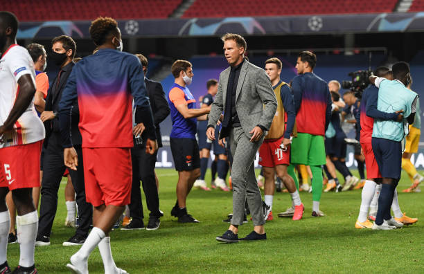 Julian Nagelsmann, Head Coach of RB Leipzig reacts to defeat after the UEFA Champions League Semi Final match between RB Leipzig and Paris...