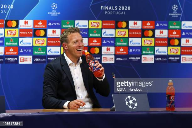 Julian Nagelsmann, Head Coach of RB Leipzig speaks to the media during a press conference following the UEFA Champions League Quarter Final match...