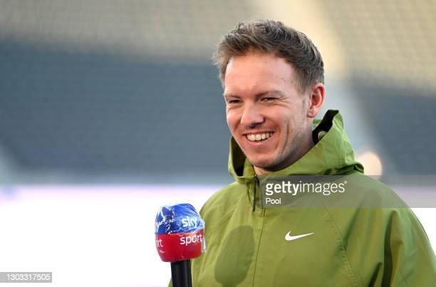 Julian Nagelsmann, Head Coach of RB Leipzig talks to the media prior to the Bundesliga match between Hertha BSC and RB Leipzig at Olympiastadion on...
