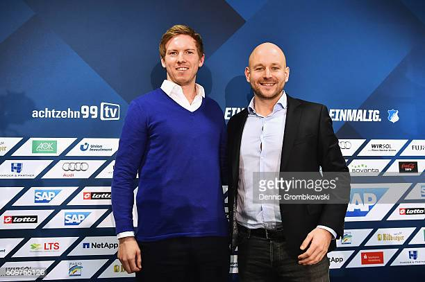 Julian Nagelsmann is presented by Alexander Rosen as new head coach of TSG 1899 Hoffenheim during a press conference on February 12 2016 in...