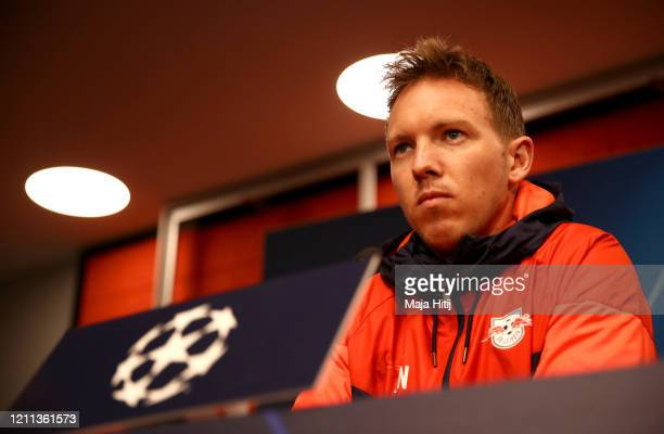 Julian Nagelsmann, Manager of RB Leipzig speaks to the media during the RB Leipzig Press Conference at the Red Bull Arena on March 09, 2020 in...