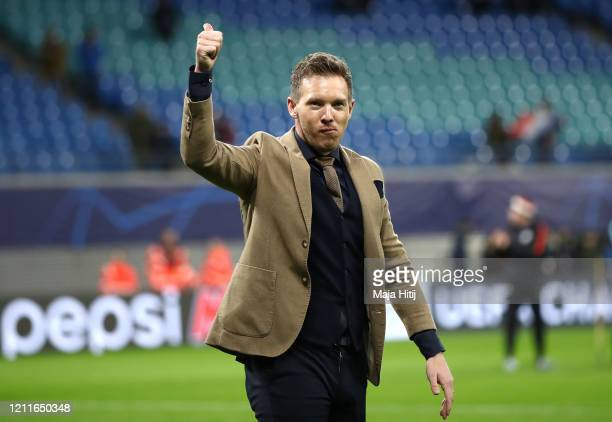 Julian Nagelsmann, Manager of Red Bull Leipzig celebrates victory following the UEFA Champions League round of 16 second leg match between RB Leipzig...