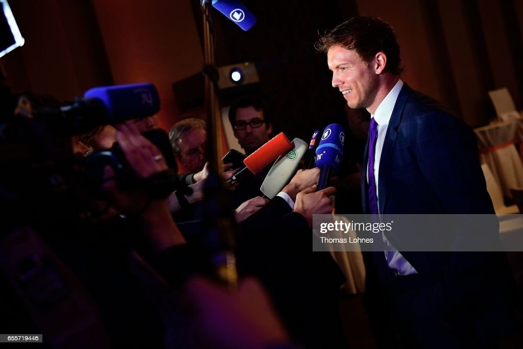 Julian Nagelsmann, the head coach of TSG 1899 Hoffenheim, speaks to the media at the 'Coaching Award Ceremony & Closing Event UEFA Pro Coaching Course 2016/2017' on March 20, 2017 in Neu Isenburg, Germany. Julian Nagelsmann received the award 'Coach Of The Year 2016'