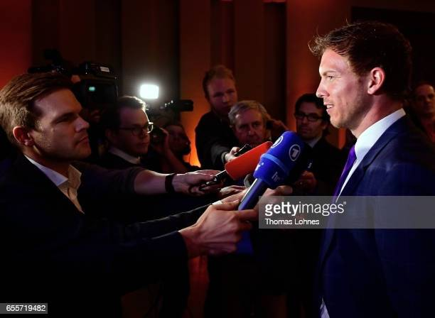 Julian Nagelsmann the head coach of TSG 1899 Hoffenheim speaks to the media at the 'Coaching Award Ceremony Closing Event UEFA Pro Coaching Course...
