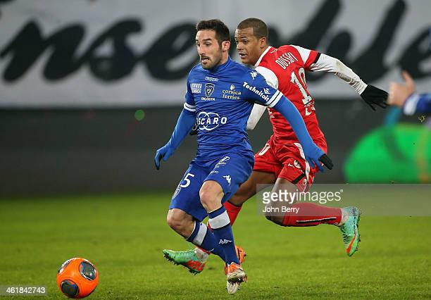 Julian Palmieri of Bastia in action during the french Ligue 1 match between Valenciennes FC and SC Bastia at the Stade du Hainaut on January 11 2014...