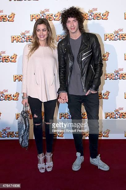 Julian Perretta and his wife Elisa Bachir Bey attend 'Les Profs 2' Paris Premiere at Le Grand Rex on June 9 2015 in Paris France