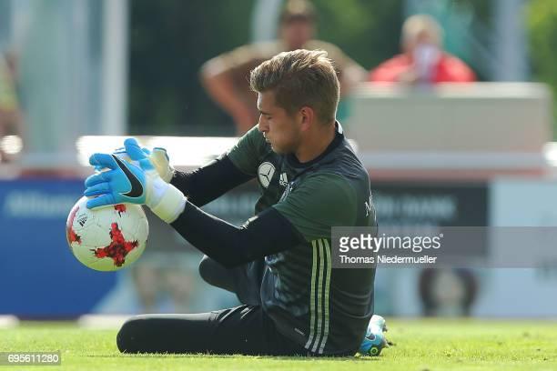 Julian Pollersbeck is seen during the Germany U21 training on June 13 2017 in Dreieich Germany