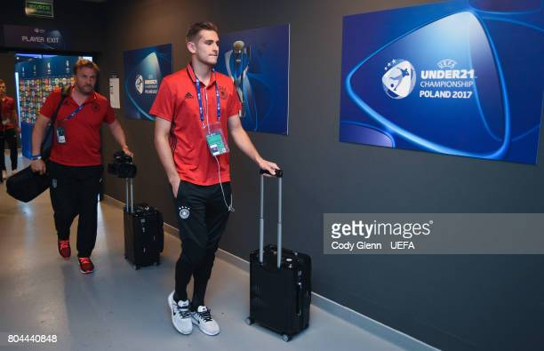 Julian Pollersbeck of Germany arrives before their UEFA European Under21 Championship 2017 final match against Spain on June 30 2017 in Krakow Poland