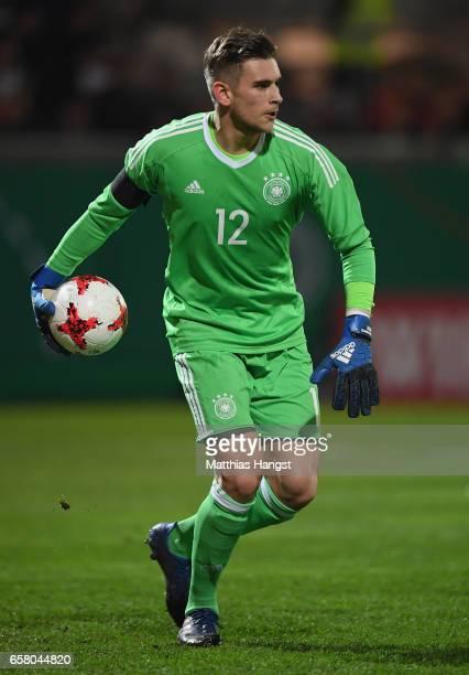 Julian Pollersbeck of Germany controls the ball during the U21 International Friendly match between U21 Germany and U21 England at BRITAArena on...