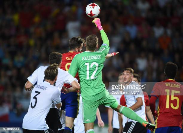 Julian Pollersbeck of Germany during their UEFA European Under21 Championship 2017 final match against Spain on June 30 2017 in Krakow Poland