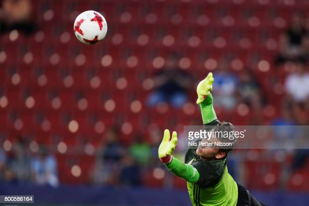 Julian Pollersbeck of Germany during warm up ahead of the UEFA U21 championship match between Italy and Germany at Krakow Stadium on June 24 2017 in...