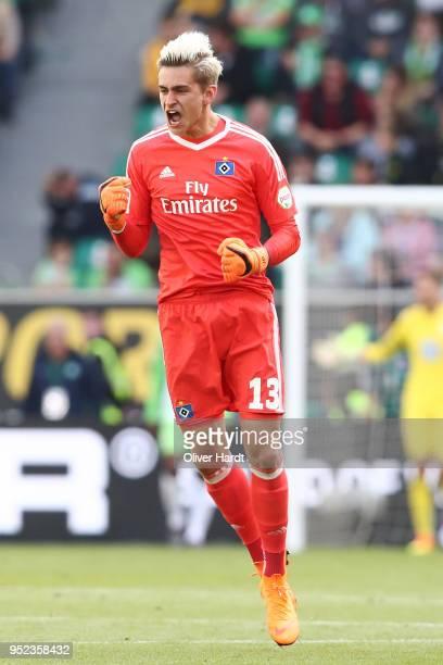 Julian Pollersbeck of Hamburg celebrate afer the second goal during the Bundesliga match between VfL Wolfsburg and Hamburger SV at Volkswagen Arena...