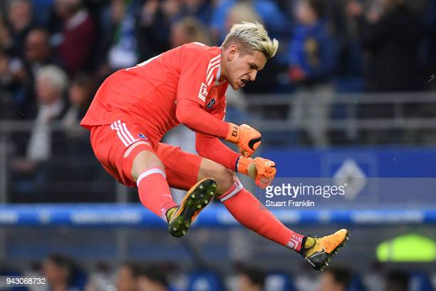 Julian Pollersbeck of Hamburg celebrates after Lewis Holtby of Hamburg scored a goal to make it 21 during the Bundesliga match between Hamburger SV...