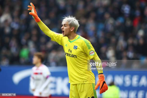 Julian Pollersbeck of Hamburg gesticulated during the Bundesliga match between Hamburger SV and Hertha BSC at Volksparkstadion on March 17 2018 in...