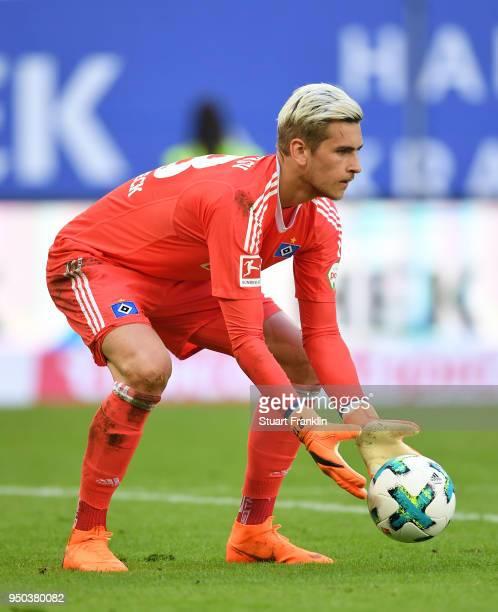 Julian Pollersbeck of Hamburg in action during the Bundesliga match between Hamburger SV and SportClub Freiburg at Volksparkstadion on April 21 2018...