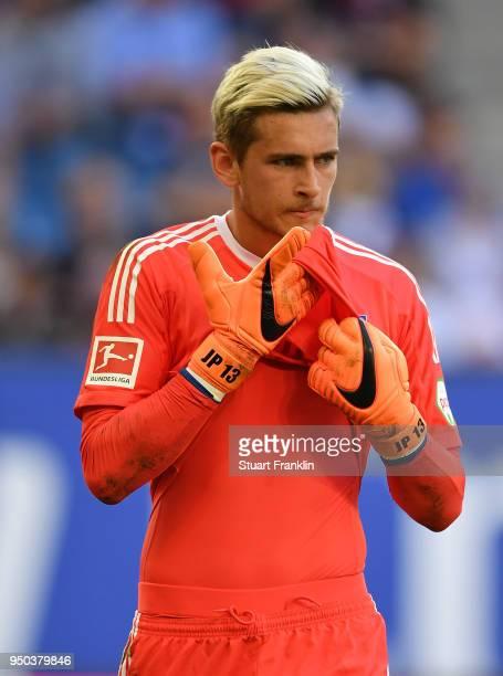 Julian Pollersbeck of Hamburg reacts during the Bundesliga match between Hamburger SV and SportClub Freiburg at Volksparkstadion on April 21 2018 in...