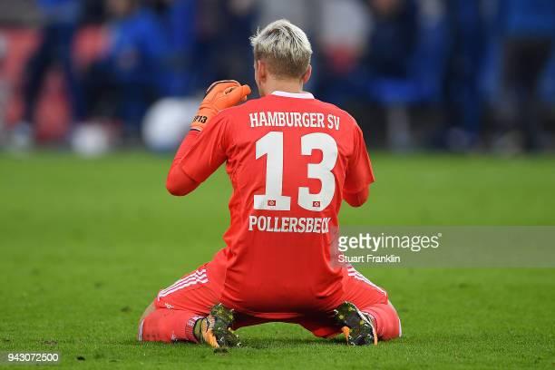 Julian Pollersbeck of Hamburg sits on the pitch dejected during the Bundesliga match between Hamburger SV and FC Schalke 04 at Volksparkstadion on...