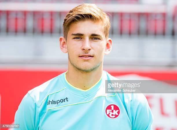 Julian Pollersbeck poses during the 1 FC Kaiserslautern team presentation at FritzWalterStadion on July 3 2015 in Kaiserslautern Germany