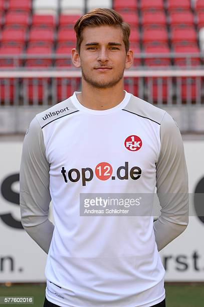 Julian Pollersbeck poses during the offical team presentation of 1FC Kaiserslautern at FritzWalterStadion on July 19 2016 in Kaiserslautern Germany