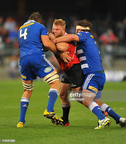 Julian Redelinghuys of the Lionsduring the Super Rugby match between DHL Stormers and Emirates Lions at DHL Newlands Stadium on June 06 2015 in Cape...