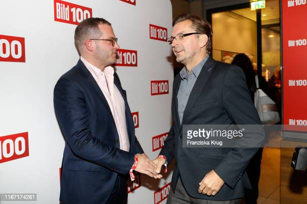 Julian Reichelt and Claus Strunz during the Bild 100 summer party on September 9 2019 in Berlin Germany