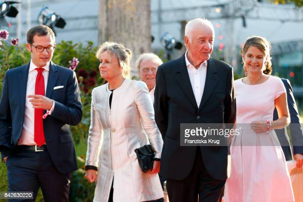 Julian Reichelt Armin MuellerStahl his wife Gabriele Scholz and Tanit Koch attend the BILD100 event at Axel Springer Haus on September 4 2017 in...