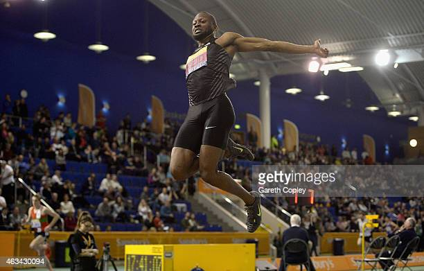 Julian Reid competes in the mens long jump during the Sainsbury's British Athletics Indoor Championships at English Institute of Sport on February...