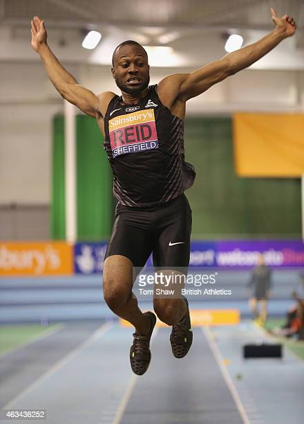 Julian Reid of Great Britan in action in the mens long jump during day 1 of the Sainsbury's Indoor British Championships at the English Institute of...