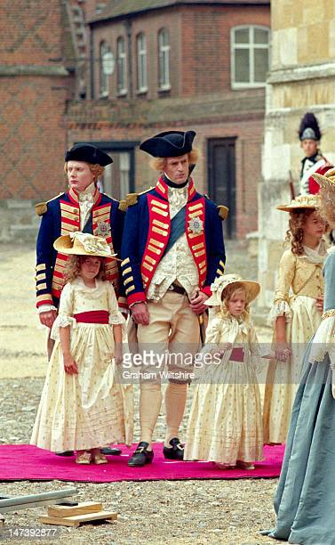 Julian Rhind Tutt as the Duke of York Rupert Everett as the Prince of Wales at Eton College location for filming of The Madness of King George with...