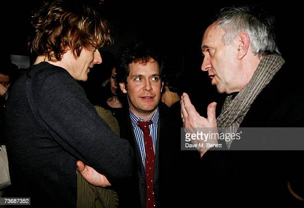 Julian RhindTutt Tom Hollander and Jonathan Pryce attend the a fundraiser party for the Almeida Theatre at the Almeida Theatre on March 23 2007 in...