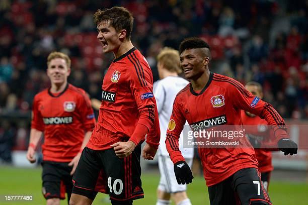 Julian Riedel of Leverkusen celebrates after scoring a goal during the UEFA Europa League Group K match between Bayer 04 Leverkusen and Rosenborg...