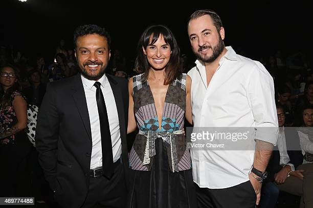Julian Roman Ana Serradilla and guest attend the first day of MercedesBenz Fashion Week México Autumn/Winter 2015 at Campo Marte on April 14 2015 in...