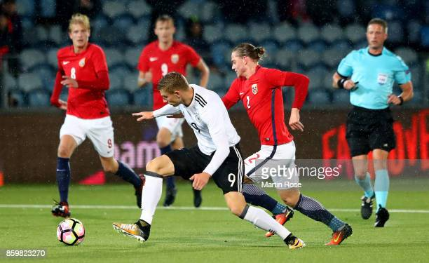 Julian Ryerson of Norway and Felix Platte of Germany battle for the ball during the UEFA Under21 Euro 2019 Qualifier match between U21 of Norway and...
