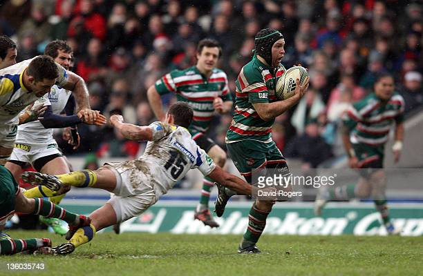 Julian Salvi of Leicester breaks clear to score the second try during the Heineken Cup match between Leicester Tigers and Clermont Auvergne at...