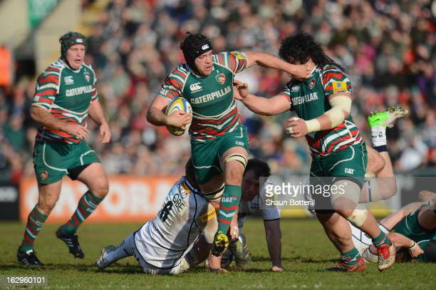Julian Salvi of Leicester Tigers breaks through the Sale Sharks denfence during the Aviva Premiership match between Leicester Tigers and Sale Sharks...
