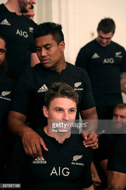 Julian Savea and Beauden Barrett of The All Blacks relax before the New Zealand All Blacks team photo session at The Heritage Hotel on June 2 2016 in...